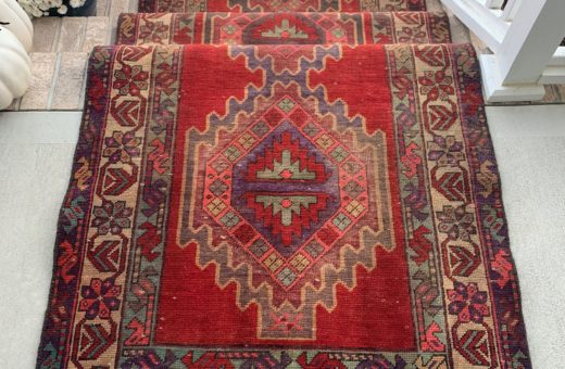 Red Persian Runner with Purple Accents # 103